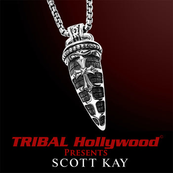 ARMORED HORN Sterling Silver Mens Cross Necklace by Scott Kay