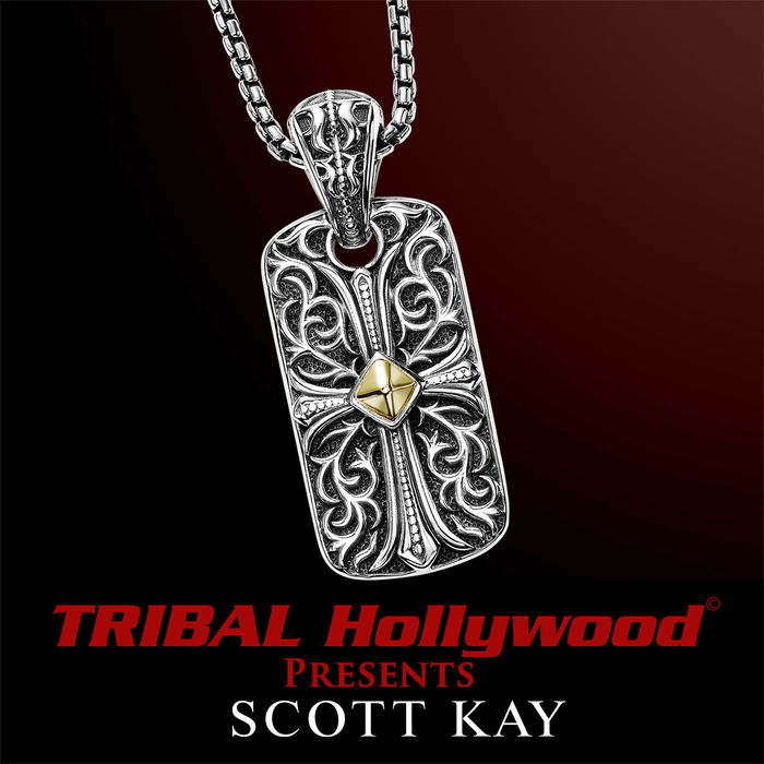 3412967b23c331 UnKaged ENGRAVED CROSS DOG TAG Pendant with 18K Gold Center - Scott Kay  Mens Sterling Silver Jewelry | Tribal Hollywood