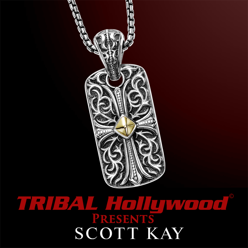 60103cb4ad5a2 UnKaged ENGRAVED CROSS DOG TAG Necklace with 18K Gold Center - Scott Kay  Mens Sterling Silver