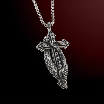 Scott Kay PROTECTING THE CROSS ANGEL Large Sterling Silver Necklace