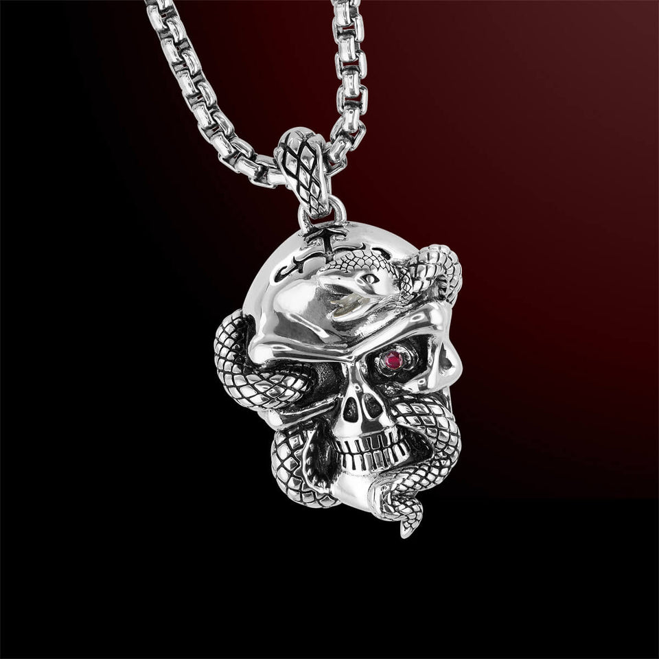 SERPENT SKULL Scott Kay Mens Pendant Chain Necklace in Sterling Silver