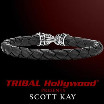 BRAIDED BLACK LEATHER Bracelet Medium Width with Scott Kay Sterling Silver Clasp