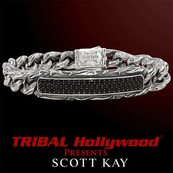 BLACK SAPPHIRE ID Mens Bracelet with Vine Engravings by Scott Kay