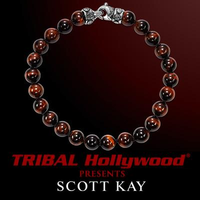 RED TIGERS EYE Scott Kay Bead Bracelet with Sterling Silver