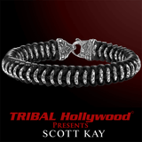 Silver HAMMERED RINGS Black Leather Mens Woven Bracelet by Scott Kay