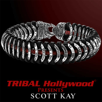 UNKAGED LINK Red and Black Leather Silver Mens Scott Kay Bracelet