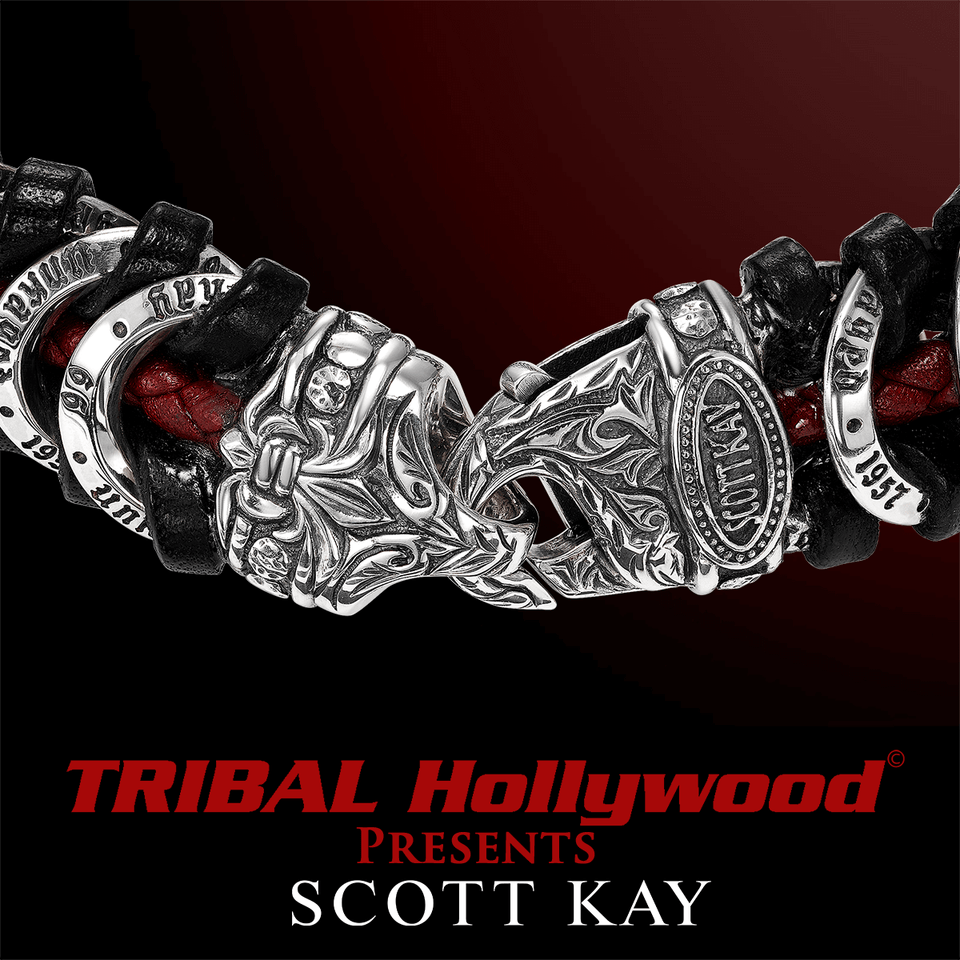 UNKAGED LINK Scott Kay Red and Black Leather Silver Mens ...