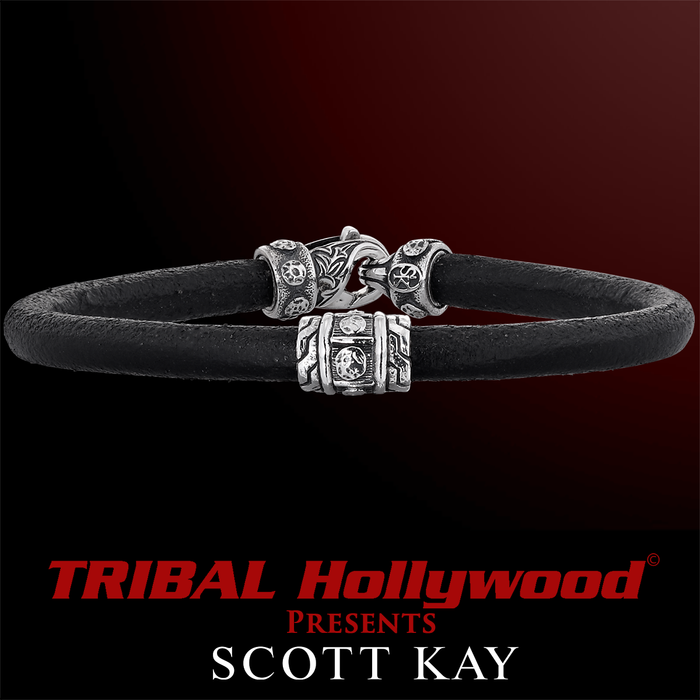 RIVETED SILVER BAND Black Leather Bracelet by Scott Kay
