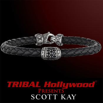 BLACK SAPPHIRE Woven Black Leather Bracelet by Scott Kay Men's Sterling Silver