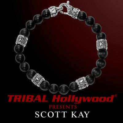 Scott Kay CHEVRON BLACK ONYX and Silver Beaded Mens Bracelet