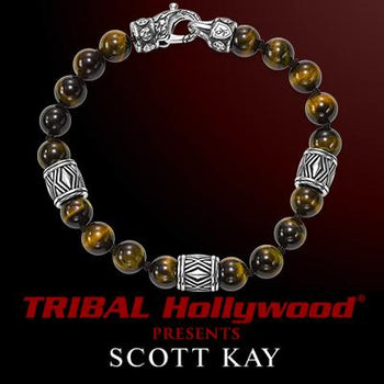 Scott Kay CHEVRON TIGERS EYE and Silver Beaded Mens Bracelet