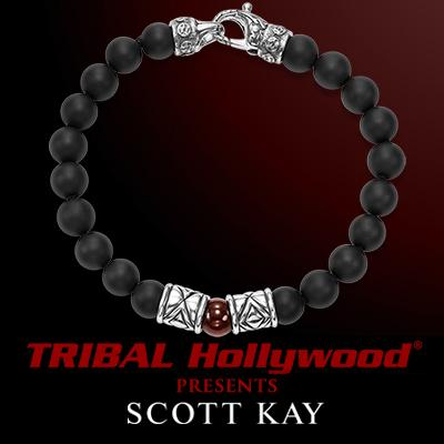 Scott Kay RED SHELL PEARL Black Onyx Bead Bracelet with Chevron Beads