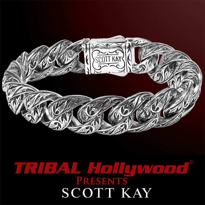 SPARTA LARGE Engraved Sterling Silver Mens Link Bracelet by Scott Kay