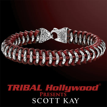HAMMERED RING Red Leather and Silver Woven Bracelet for Men by Scott Kay