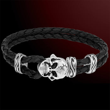 Scott Kay UNKAGED SKULL LEATHER Black Braided Bracelet for Men with Silver