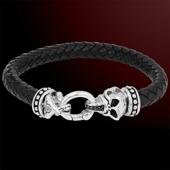 HOWLING SKULL Sterling Silver and Black Leather Mens Bracelet by Scott Kay