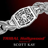 UNKAGED CHAINED SKULL Scott Kay Mens Sterling Silver Bracelet