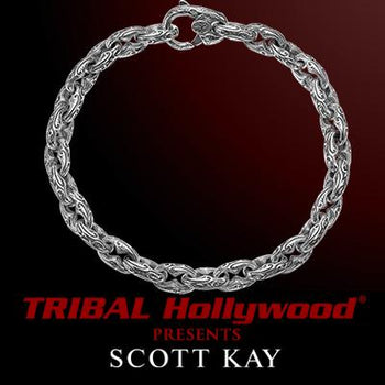 Scott Kay ANCHOR LINK SPARTA MEDIUM Engraved Silver Link Mens Bracelet