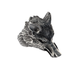 WOLFS HEAD RING Silver Carved Wolf Mens Ring by BICO Australia