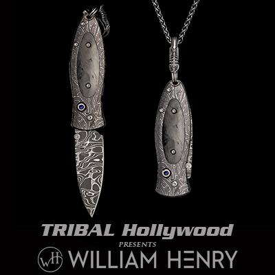 William Henry MORPHEUS MIDNIGHT CARBON FIBER Damascus Steel Pocket Knife Necklace