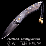 William Henry PIKATTI BEAUMONT Damascus and Carbon Fiber Pocket Knife