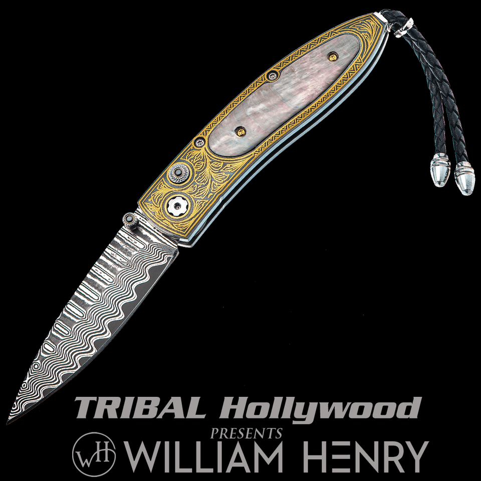 William Henry MONARCH GRACIOUS 24k Gold Koftgari Mens Pocket Knife