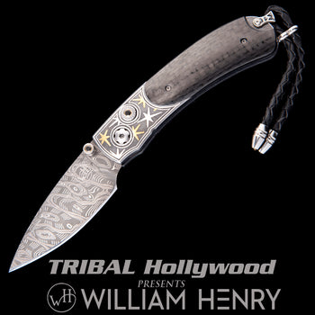William Henry KESTREL STARSHIP Gold Star Carbon Fiber Pocket Knife