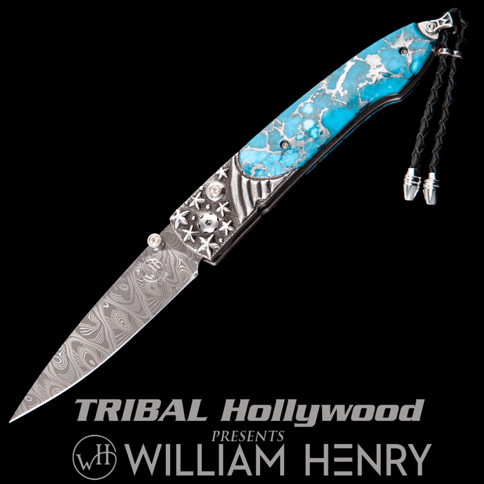 William Henry LANCET STARS AND STRIPES Blue Turquoise Pocket Knife