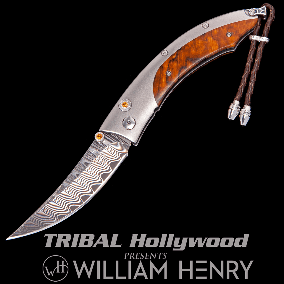 William Henry PERSIAN DRIFT Orange Beechwood Titanium Pocket Knife