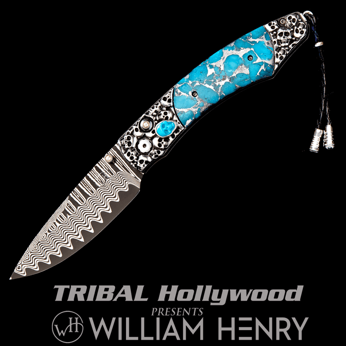 William Henry SPEARPOINT JEROME Blue Turquoise Skull Mens Pocket Knife
