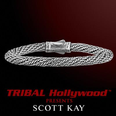 KODIAK ROUND WEAVE 6mm Thin Sterling Silver Bracelet by Scott Kay