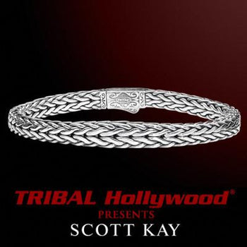 DOBERMAN Tapered Edge Extra Thin Scott Kay Mens Sterling Silver Bracelet