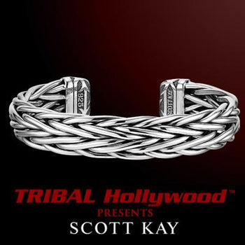 EQUESTRIAN CUFF Bracelet Multi-Braid Scott Kay Mens Sterling Silver