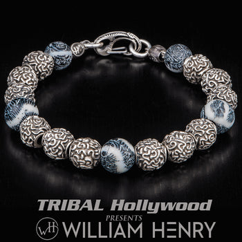 William Henry ANDROS Fossil Coral and Silver Brain Coral Bead Bracelet
