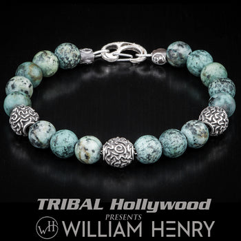 William Henry VERDIGRIS African Turquoise and Silver Bead Bracelet