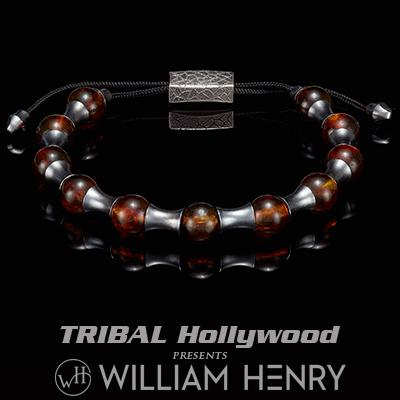 William Henry ZENITH RED AMBER and Silver Beaded Bracelet for Men