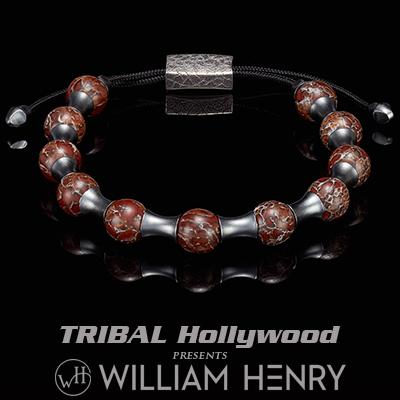 William Henry ZENITH RED DINOSAUR BONE and Silver Beaded Bracelet for Men
