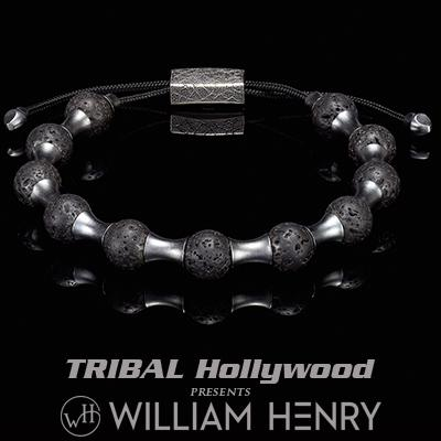 William Henry ZENITH BLACK LAVA and Silver Beaded Bracelet for Men