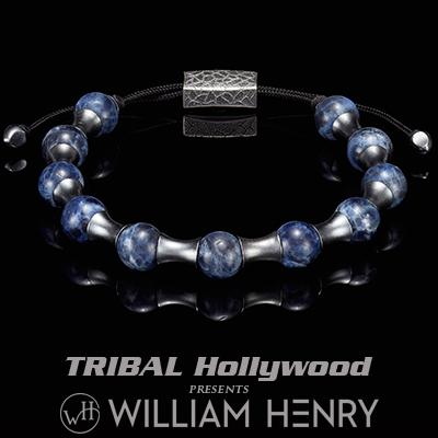 William Henry ZENITH BLUE SODALITE and Silver Beaded Bracelet for Men