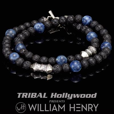 William Henry TETHER BLUE SODALITE and Black Lava Beaded Double Wrap Bracelet