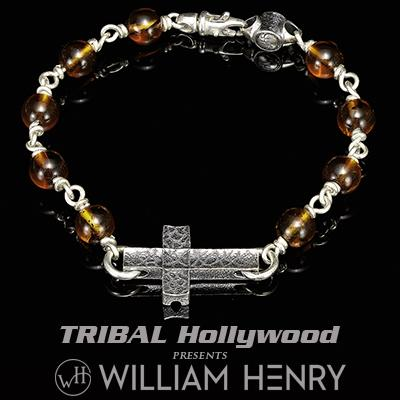William Henry SANCTUM AMBER Beaded Bracelet for Men with Silver Cross