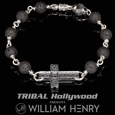 William Henry SANCTUM BLACK LAVA Beaded Bracelet for Men with Silver Cross
