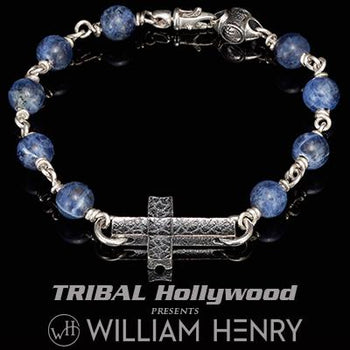 William Henry SANCTUM BLUE SODALITE Beaded Bracelet for Men with Silver Cross