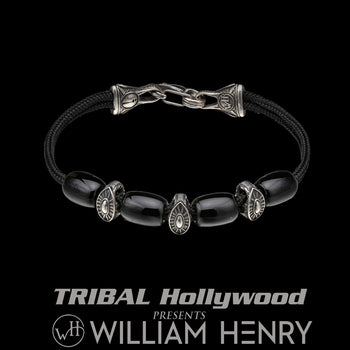William Henry GALLANT SARDONYX Paracord Mens Bracelet with Silver