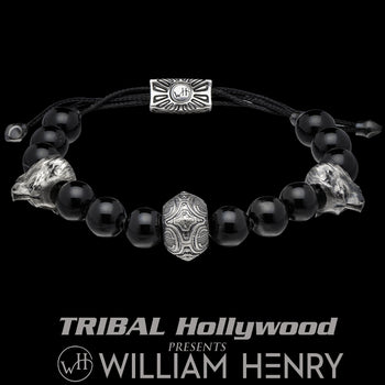 William Henry STALWART SARDONYX Beaded Mens Bracelet with Polar Bears