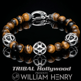William Henry SUNRISE TIGERS EYE Bead Bracelet for Men with Caged Onyx