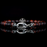 William Henry SUNSET Red Tigers Eye Bead Bracelet for Men