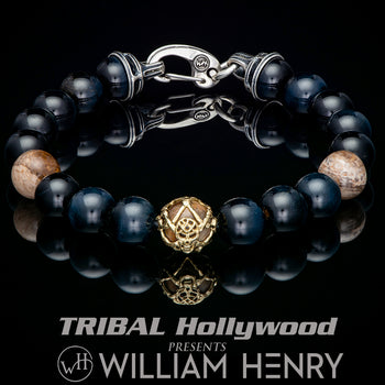William Henry DUSK HAWKS EYE Dark Blue Bead Bracelet for Men