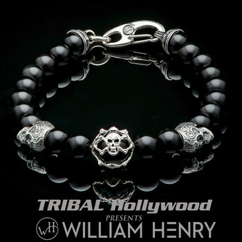 William Henry NOCTURNE Black Obsidian Bead Bracelet with Skulls