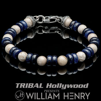 William Henry VIRTUE Fossil Coral Jasper and Blue Sodalite Bracelet